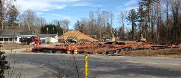 Roundabout construction at Greenville Highway/Erkwood Drive/Shepherd Street (Feb 4, 2019)